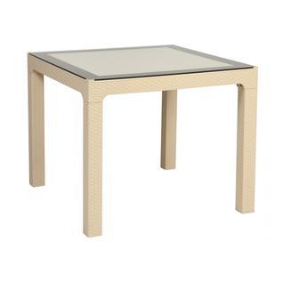 Садовый стол Delta Стол пластиковый Arizona со стеклом DEL/AR-R/90x90/GL/W
