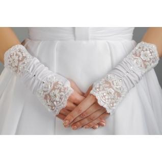 Перчатки свадебные №101, белый (20 см, жемчуг)