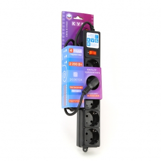 Фильтр-удлинитель Power Cube B 1,9 м 5 розеток (черный) 10А/2,2кВт (Откр. упаковка)