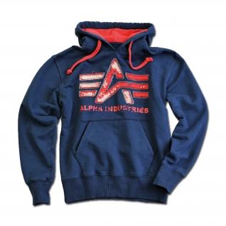 "Толстовка Alpha Industries с большим ""A"", винтаж, цвет синий"