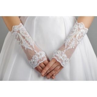 Перчатки свадебные №108, белый (короткие)