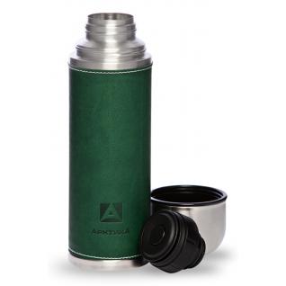 Термос Арктика 1 литр с узким горлом с кожаной вставкой, зеленый 108-1000 Термосы Арктика