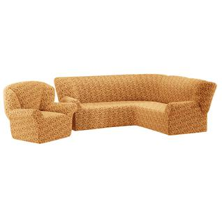 Комплект чехлов ПМ: Ми Текстиль Чехол на угловой диван и одно кресло жаккард без юбки