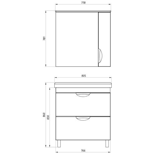 Подстолье Миранда 80 (Белый) ASB-Woodline 38117080 3