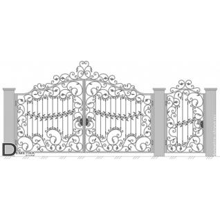Кованые ворота распашные В-028 (кв.м)