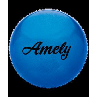 Мяч для художественной гимнастики Amely Agb-102 19 см, синий, с блестками