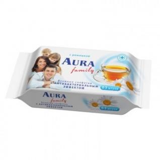 Салфетки влажные AURA освежающие для всей семьи 63шт.