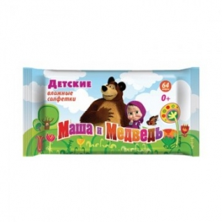 Салфетки влажные детские Маша и Медведь влажные 0+ 64 штук в упаковке