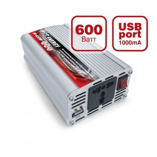 Преобразователь напряжения автомобильный AVS IN-600W (12В > 220В, 600 Вт, USB) AVS