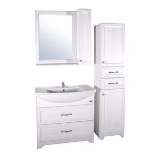 Зеркало Берта-85 со шкафчиком массив ясеня (Белый/Патина серебро) ASB-Woodline