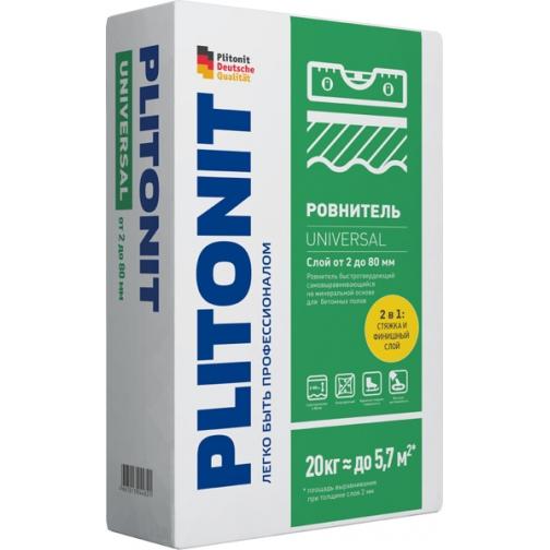 ПЛИТОНИТ Универсал наливной пол универсальный (20кг) / PLITONIT Universal ровнитель быстротвердеющий самовыравнивающийся (20кг) Плитонит 36984049