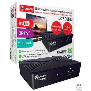 D-Color Ресивер DVB-T2 D-Color DC600HD черный DVBC, DVBT-2, DVB-T, GX3235S, 2*USB,HDMI, 720p,1080i,1080p