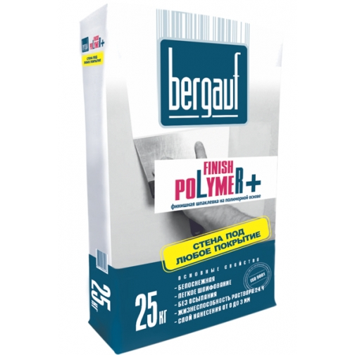 БЕРГАУФ Финиш Полимер шпаклевка финишная полимерная (25кг) / BERGAUF Finish Polymer шпатлевка финишная на полимерной основе (25кг) Бергауф 36984053