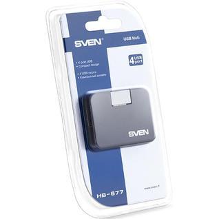 Разветвитель USB SVEN HB-677/4xUSB 2.0/ черный без кабеля