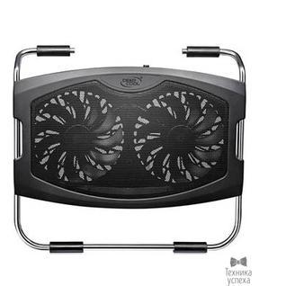 """Deepcool DEEPCOOL N2000 IV Подставка для охлаждения ноутбука (12шт/кор, до15.6"""", 2х140мм вентилятор, черный, резин.вставки, 2 USB ) Retail box"""