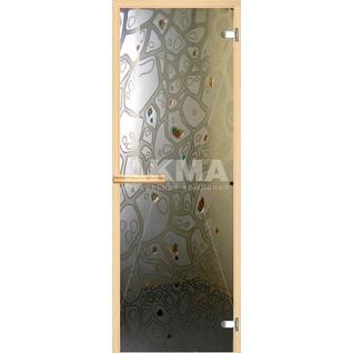 Дверь для бани АКМА АРТ с Фьюзингом ПАНЦИРЬ 7х19 (коробка осина или липа)