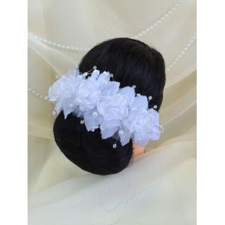 Венок свадебный №110, белый с блёстками (5 роз, стеклярус, жемчуг)