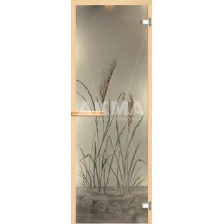 Дверь для бани АКМА АРТ с Фьюзингом ТРОСНИК 7х19 (коробка осина или липа)