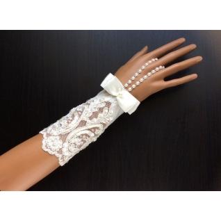 Перчатки свадебные №247, белый (15 см, жемчуг)