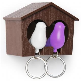 Держатель+брелок для ключей двойной Sparrow коричневый/белый/фиолетовый