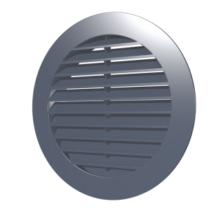 Решетка наружная вентиляционная круглая ERA 10РКН D130 с фланцем D100, ASA- пластик, серая