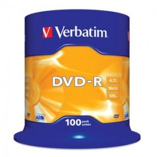 Носители информации Verbatim DVD-R 4,7GB 16х CB/100 43549