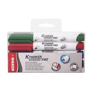 Маркер для досок KORES набор 4 цв. 3-5 мм скошенный наконечник 20845