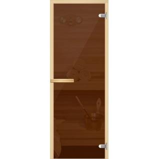 Дверь Бронза/Серое/Прозрачное бесцветное 7х19, коробка - осина, ручка прямоугольная, стекло 8мм