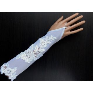 Перчатки свадебные №319, белый (30 см, вышивка бисером)