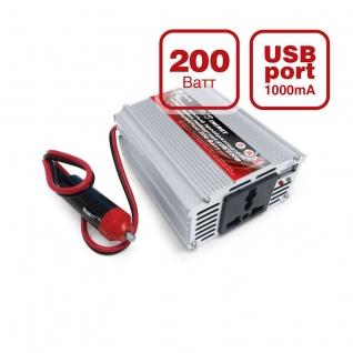 Преобразователь напряжения автомобильный AVS IN-200W (12В > 220В, 200Вт, USB) AVS