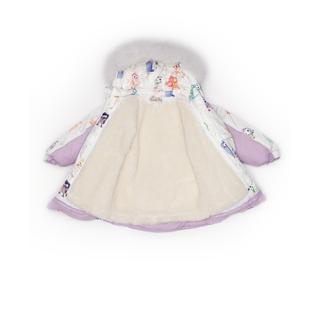 Комплект MalekBaby (Куртка + Полукомбинезон), С опушкой, №340/1 (Птички на белом+сирень) арт.409ШМ/2