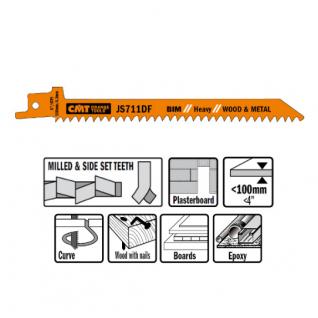 Пилки сабельные СМТ 5 штук для дерева и металла(BIM) 150x4,3x6TPI JS711DF-5