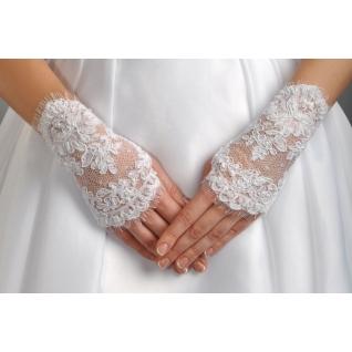 Перчатки свадебные №110, белый (короткие)