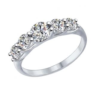 Серебряное кольцо с сваровски и фианитом сваровски SOKOLOV 89010041