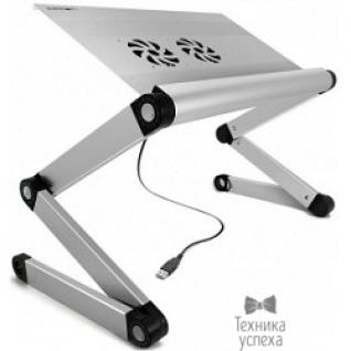 """Crown CROWN Столик для ноутбука CMLS-100 ( 17"""", активное охлаждение, алюминий, регулировка высота и наклона, размеры панели (Д*Ш): 45*28.5см, максимальная высота: 55см) черный"""