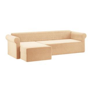 Чехол для углового дивана с оттоманкой ПМ: Ми Текстиль Чехол на угловой диван с оттоманкой