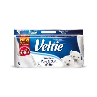 Бумага туалетная VELVET деликатная 8 рулонов по 162 листа 3 слоя