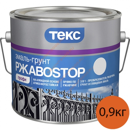 ТЕКС РжавоСтоп краска по ржавчине серебряная (0,9кг) / ТЕКС РжавоStop эмаль-грунт 3в1 по ржавчине серебряный полуглянцевый (0,9кг) Текс 36983637