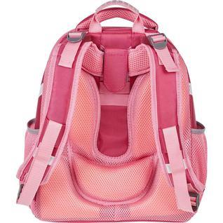 Ранец №1School Basic Flamingo, 2 отд., ортоп.спинка, экокожа, светящ. кант