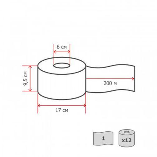 Бумага туалетная д/дисп 1сл бел макул втул 200м 12рул/уп 200W1 42471165 1