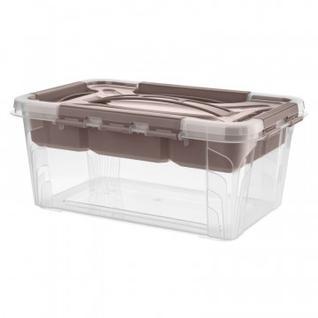 Ящик для хранения с замками, ручкой и вставкой-органайзером, 4,2л