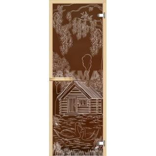 Дверь для сауны АКМА Арт-серия GlassJet ДОМ С ЛЕБЕДЯМИ 7х19 (коробка -осина/липа)