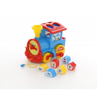 """Логический паровозик """"Смурфики"""" с 6 кубиками №2 Полесье"""