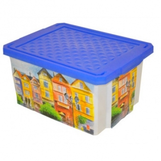 Ящик для хранения Optima Город 12 л, с крышкой