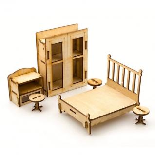 """Сборная деревянная модель мебели для кукол """"Спальня"""" Теремок"""