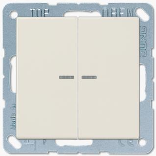 Выключатель Jung LS серия (505U5-LS995KO5) двухклавишный с подсветкой 10А слоновая кость пластик
