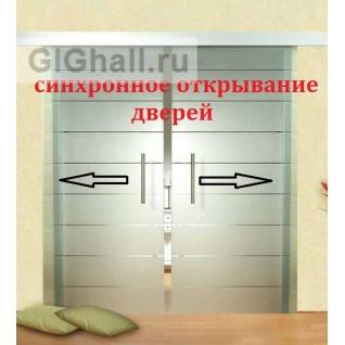 Синхронный механизм для стеклянных раздвижных дверей