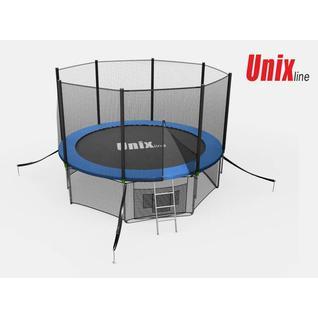 UNIX Батут Unix 14 ft с внешней сеткой и лестницей Синий