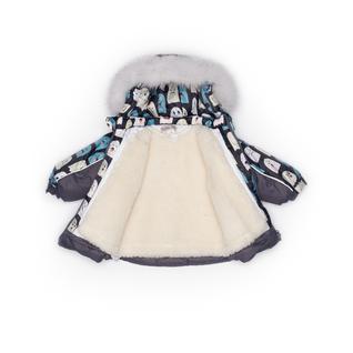 Комплект MalekBaby (Куртка + Полукомбинезон), С опушкой, №257/1 (Привидения+серый) арт.409ШМ/2