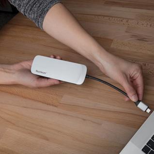 Разветвитель USB 3.0 KINGSTON Nucleum [c-hubc1-sr-en], серебристый